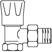 """HRV típusú kézi szabályozószelep, PN10, DN10, 3/8"""", sarok, kézi szabályozófejjel, kvs=3.20"""