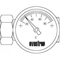 """Hőmérővel szerelt közdarab, DN20, 1"""", PN10, hőmérővel (20-80 °C)"""