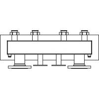 """Integrált osztó-gyűjtő egység, 2 """"Regumat"""" DN40/50 szivattyú-állomások telepítéséhez, 180 mm-es csőtengelytávolsághoz"""