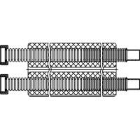 """Acél összekötőcső, """"2 in 2"""", DN16, vágható, 22 mm x G 3/4"""" hollandi, lapos tömítéssel, tekercshossz 15 m"""