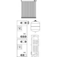 Szolár egységcsomag HMV készítéshez, 2 db 20 csöves kollektorral