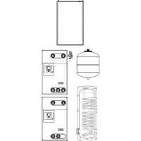 Solcos szolár egységcsomag, HMV + fűtés 10. számú csomag, 240 m2 lakófelületig