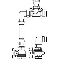 Hőmennyiségmérő-csatlakozó készlet, Hycocon VTZ szeleppel, osztóhoz, egyenes, DN20