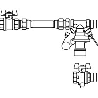 Hőmennyiségmérő-csatlakozó készlet, Hycocon DTZ szeleppel, osztóhoz, egyenes
