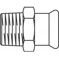 """Réz átmeneti idom külső menettel Mapress-nemesacél csőre, 15 mm x R 1/2"""""""
