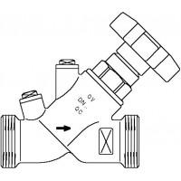 """Aquastrom szelep visszacsapóval (KFR), DN15, G 3/4"""" x G 3/4"""" ürítő nélkül, vörösöntvény"""