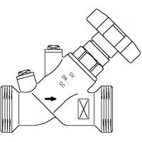 """Aquastrom szelep visszacsapóval (KFR), DN15, G 1"""" x G 1"""" ürítő nélkül, vörösöntvény"""