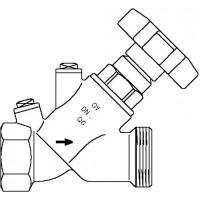 """Aquastrom szelep visszacsapóval (KFR), DN15, Rp 1/2"""" x G 3/4"""" ürítő nélkül, vörösöntvény"""