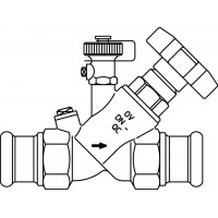 Aquastrom szelep visszacsapóval (KFR), 15 mm-es préscsatlakozóval, ürítővel, vörösöntvény