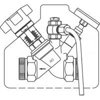 """Aquastrom C beszabályozó szelep, cirkulációs vezetékbe, mintavételi szeleppel, DN15, G 3/4"""" km"""