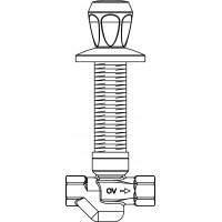 """Aquastrom szerelőfal mögé építhető cirkulációs szelep (UP-Therm), DN15, Rp 1/2"""" x Rp 1/2"""", 57 °C, vörösöntvény, krómozott elzáróval"""