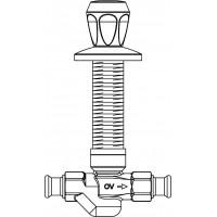Aquastrom szerelőfal mögé építhető szelep (UPF), DN15, 15 mm-es préscsatlakozóval, vörösöntvény, krómozott elzáróval