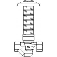 """Aquastrom szerelőfal mögé építhető cirkulációs szelep (UP-Therm), DN15, Rp 1/2"""" x Rp 1/2"""", 57 °C, vörösöntvény, krómozott védőfedéllel"""