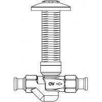 Aquastrom szerelőfal mögé építhető cirkulációs szelep (UP-Therm), 15 mm-es préscsatlakozóval, 57 °C, vörösöntvény, krómozott védőfedéllel